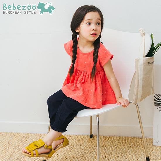 短袖套裝 韓國 Bebezoo 後綁蝴蝶結短袖上衣+褲腳縮口長褲 套裝2件組 - 珊瑚點點 BE18-M-SET206