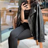 黑色pu皮衣外套女