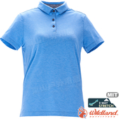 Wildland 荒野 0A71639-73水藍色 女彈性本布領POLO上衣 抗UV/涼爽散熱/吸濕快乾/POLO衫*