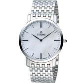 TITONI 梅花錶超薄紳士腕錶 TQ52918S-587 白