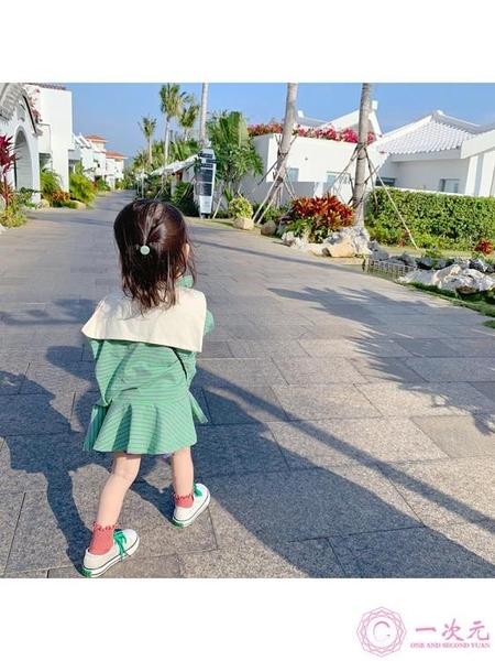 洋裝 女童裙子2020新款春裝條紋學院風超洋氣兒童小寶寶連身裙