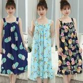夏季韓版人造棉睡裙無袖性感純棉綢吊帶女睡裙清新大碼學生家居服「艾瑞斯居家生活」
