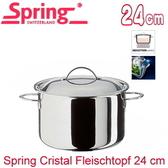 【瑞士Spring】CRISTAL多層複合金高身雙耳燉鍋-24cm(8