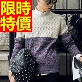 長袖毛衣-美麗諾羊毛歐美防寒套頭男針織衫63t27【巴黎精品】
