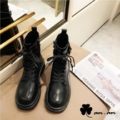 短靴 歐美風個性百搭厚底軍靴(黑)* an.an【18-C307-2bk】【現+預】