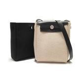 HERMES 愛馬仕 黑色及米色帆布可替換斜背小包 H刻 HER BAG TPM 2 in 1 Shoulder Bag