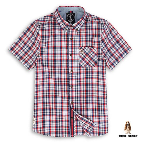 Hush Puppies 襯衫 男裝修身經典格紋棉質短袖襯衫