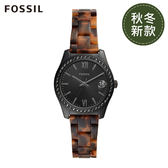 FOSSIL SCARLETTE MINI 黑色鑲鑽琥珀質地手錶ES4638