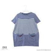 【INI】自信風采、休閒條紋拼接造型口袋上衣.灰色