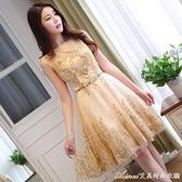 禮服宴會晚禮服新款夏韓版伴娘服短款學生聚會派對小禮服平時可穿 快速出貨