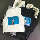 韓國ulzzang原宿風學生寬鬆BF無袖坎肩背心夏季情侶嘻哈T恤潮男女限時八九折