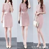 新款韓版ol氣質顯瘦中袖拼接系帶假兩件洋裝女簡約美容院工作服