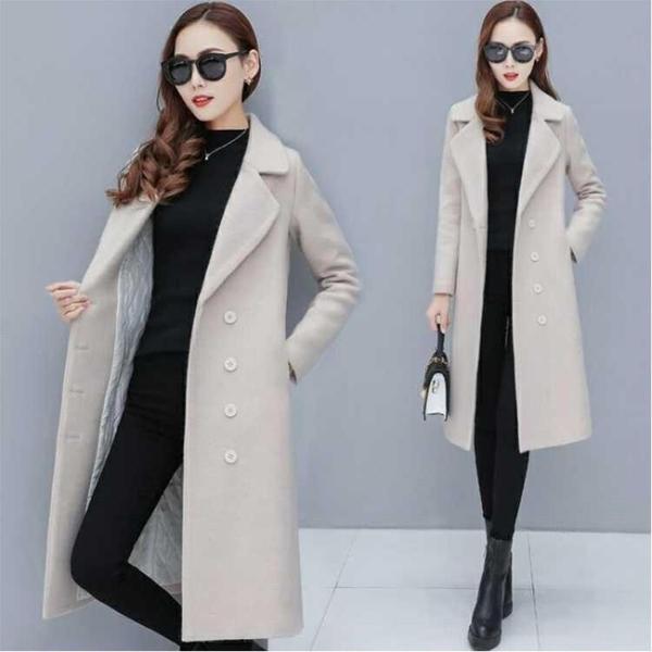 長款外套女 女士中長款韓版2019新款冬季修身加厚夾棉長款外套冬