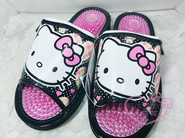 ♥小花花日本精品♥hello kitty凱蒂貓MX-混裝黑色拖鞋按摩拖鞋健康拖鞋室內室外拖鞋M-L號 32092509