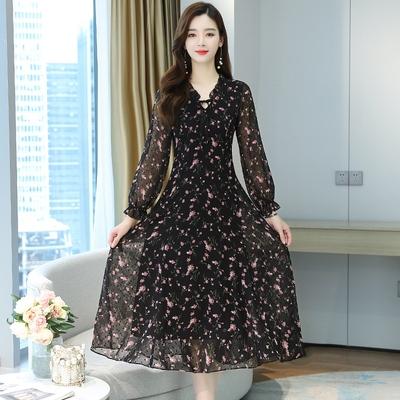 長袖洋裝`輕熟風夏季顯瘦氣質女神范大擺及踝長袖小碎花雪紡長裙連身裙T105依佳衣