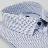 【金‧安德森】藍色格紋黑扣長袖襯衫