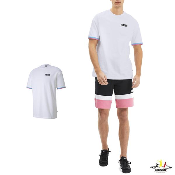 Puma Celebration 男 白色 短袖 運動 棉質 慢跑 圓領上衣 休閒 柔軟 舒適 T恤 58415502