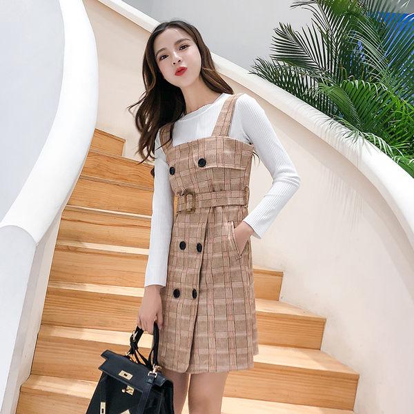 VK旗艦店 韓系氣質時尚毛衣格子背帶裙套裝長袖裙裝