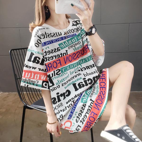 清倉188 韓國風字母寬鬆棉字母滿版長袖上衣