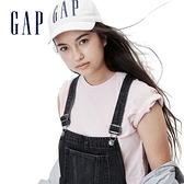 Gap女童 潮流卷邊吊帶牛仔褲 669860-水洗黑