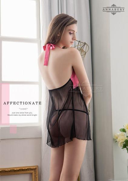 (特價) 大尺碼 Annabery桃紅緞帶柔紗二件式睡衣 (OS小舖)