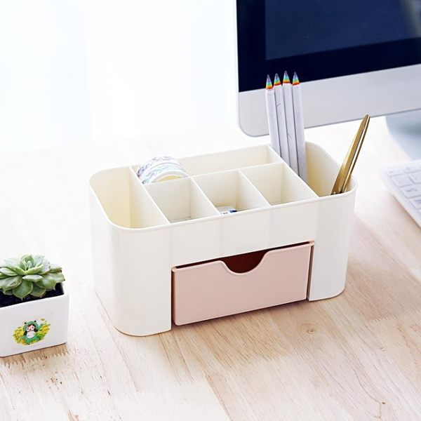 創意桌面收納盒 多功能塑料整理盒 學生文具宿舍簡約雜物盒儲物盒(交換禮物 創意)聖誕
