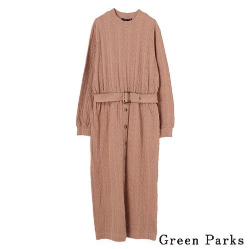 「Hot item」附腰帶麻花細節洋裝 - Green Parks
