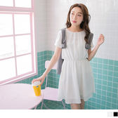 OrangeBear《DA4650》前襟打褶縮腰設計純色質感雪紡洋裝.2色--適 XL~5L