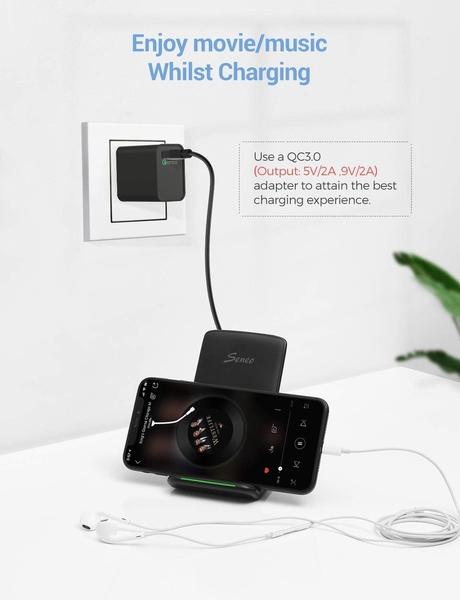 Seneo【美國代購】無線充電器 Qi認證10W快速無線充電器 充電支架 (2入無變壓器)