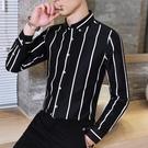 長袖襯衫 黑白色條紋襯衫男士長袖保暖英倫風襯衣加絨加厚韓版潮流寸衫秋冬 霓裳細軟