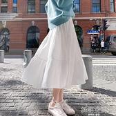 2020年秋季新款半身裙秋冬女中長款雪紡長裙白色A字高腰蛋糕裙子 【韓語空間】