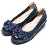 DIANA 舒適甜美-質感光澤鑽飾蝴蝶結娃娃鞋-藍★特價商品恕不能換貨★