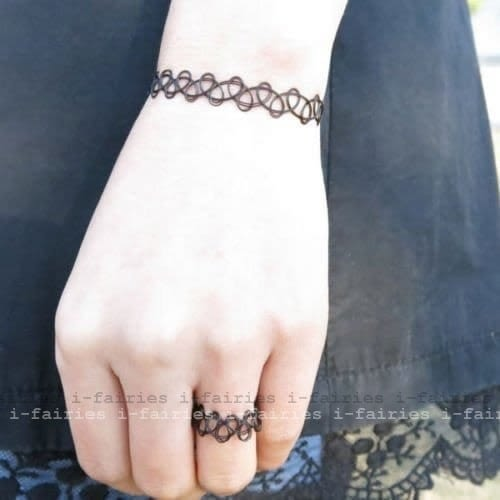 5天出貨★黑色網項鏈戒指手鏈紋身項圈★ifairies【30641】