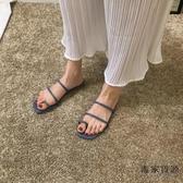 拖鞋女外穿羅馬時尚百搭涼拖鞋平底一字拖【毒家貨源】