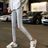 EASON SHOP(GU8103)實拍復古側邊雙條紋槓槓鬆緊腰收腰長褲女高腰顯瘦貼腿褲彈力貼身運動褲修身黑色