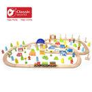 【德國 classic world】客來喜木頭玩具 德國原木火車軌道組 ( 110 PCS ) CL4164