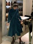 秋冬新款復古港風POLO領中長款高腰顯瘦燈芯絨長袖洋裝女裝凱斯盾