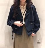 復古短款風衣女寬鬆氣質外套【愛物及屋】