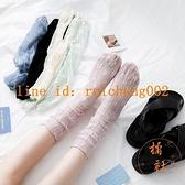 3雙裝 襪子女中筒襪透明蕾絲夏堆堆襪薄款網紗玻璃襪日系【橘社小鎮】