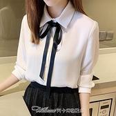 襯衫2021早春裝新款小個子雪紡加絨襯衫女設計感小眾長袖白色秋冬上衣 阿卡娜