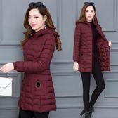 大尺碼外套  輕薄顯瘦棉衣韓版中長款脫卸帽冬季外套棉襖