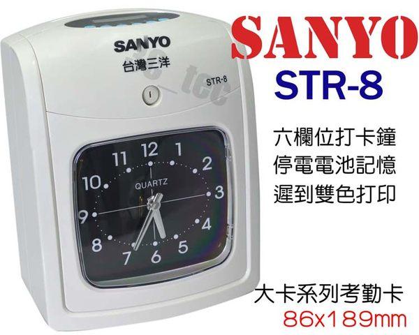 三洋 Sanyo STR-8 黑紅雙色 六欄位微電腦打卡鐘 [附卡架+100張考勤卡]