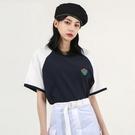 T恤 圓領撞色刺繡五分袖T恤JZ1420...