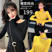 克妹Ke-Mei【AT54751】jelly名媛小心機性感小摟空高領針織上衣