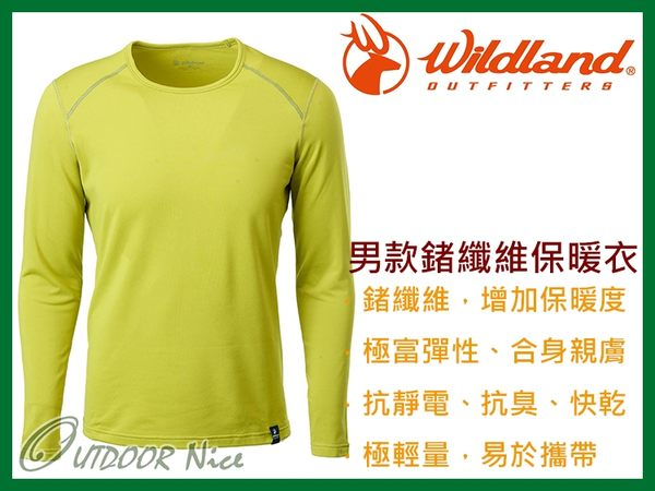 ╭OUTDOOR NICE╮荒野WILDLAND 男款輕量鍺纖維親膚保暖衣 0A62668 芥末黃 排汗衣 衛生衣 運動上衣
