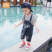 男童套裝 寶寶套裝男1一3-4歲潮嬰兒時尚帥氣牛仔背帶褲運動兩件套男童 俏腳丫