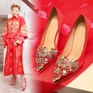 婚鞋女冬新款紅色高跟鞋細跟結婚禮秀禾鞋粗跟孕婦新娘鞋子