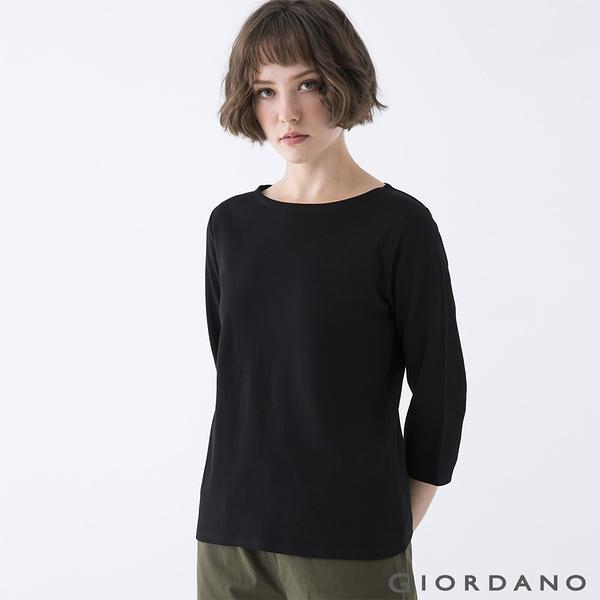 【GIORDANO】女裝簡約厚磅七分袖T恤 - 96 標誌黑
