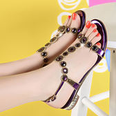 平底涼鞋 女水鑽女鑲鑽羅馬鞋【多多鞋包店】z2337