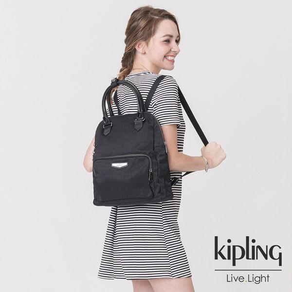 Kipling 素面都會黑手提後背包-中